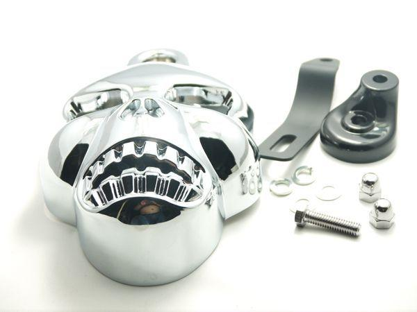 Chrome Skull Head Horn Cover For Harley Davidson Dyna